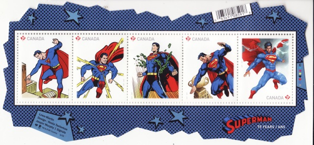 A strip of the Superman stamps