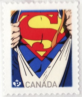 The John Byrne Man Of Steel stamp.  Usually only sold in a roll, but the lady took pity on me and sold me a single one
