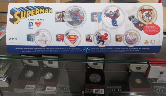 The Superman sign for the coin display at the Post office