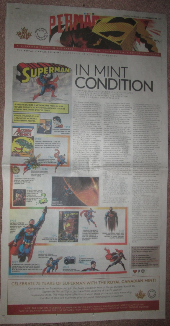 The fifth newspaper advert, from Monday September 9, 2013