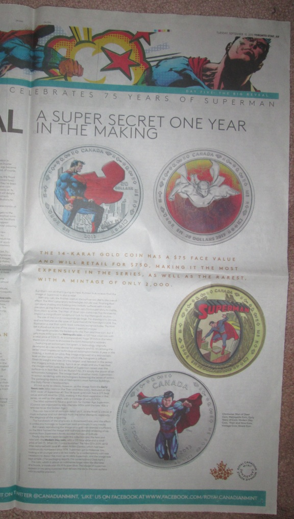 The sixth newspaper advert, from Tuesday September 10, 2013.  Close-up on page two