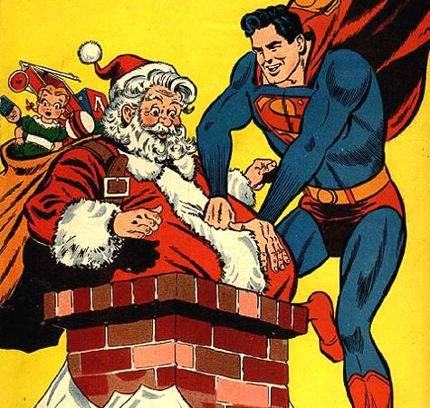 Superman helping Santa