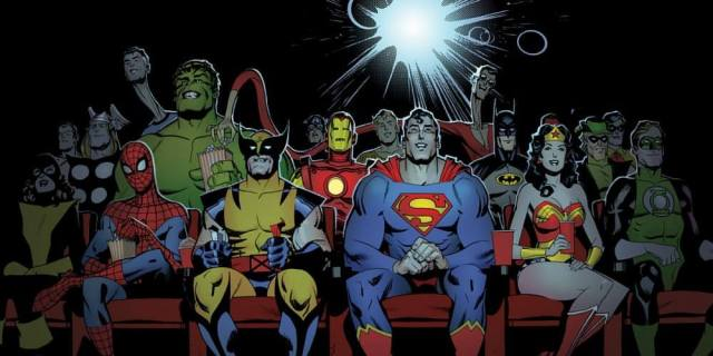 DC Marvel Heroes Enjoying Movie Together