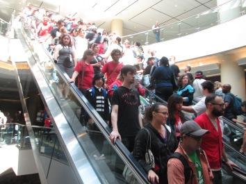 Packed escalators!
